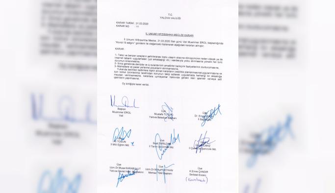 İl Umumi Hıfzıssıhha Meclisi kararları açıklandı