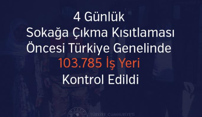 Kısıtlaması öncesi Türkiye genelinde 103.785 iş yeri kontrol edildi