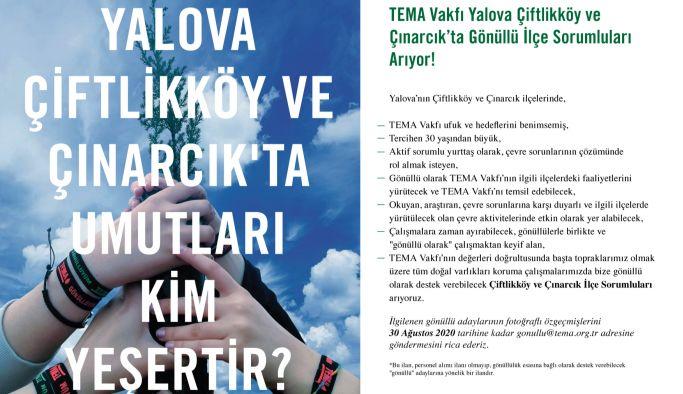 TEMA Vakfı Yalova, Çiftlikköy ve Çınarcık'ta Gönüllü İlçe Sorumluları Arıyor