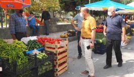 Semt pazarında Covid-19 denetimi