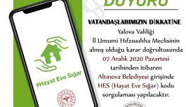 Altınova Belediyesi´nde HES kodu uygulaması başlıyor