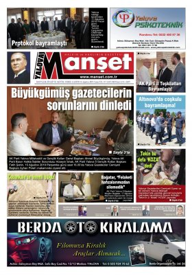 Manşet Gazetesi - 16.08.2019 Manşeti